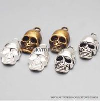 3 цвета Mtal цинковый сплав 3D череп подвески для ювелирных изделий задатки череп подвеска подвески мода Diy ювелирных изделий Оптовая 20 шт. / лот C8718a