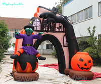 3m Halloween Entrance Arch Reusable Hallowmas Arch Inflatable Halloween Arch with Wizard and Pumpkin