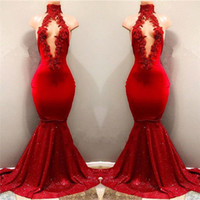 2018 Real Pictures Red Sexy High Neck Mermaid Sequined Skirt...