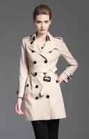 تصميم جديد! النساء أزياء إنجلترا نمط طويل الشتاء خندق معطف / ماركة مصمم صغير تحقق يتأهل خندق للنساء حجم S-XXL B8358F340