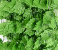 نباتات اصطناعية خضراء عنب كرمة 2.2 متر أوراق خضراء نباتات بلاستيكية وهمية محاكاة فاينز أزهار لتزيين الفناء GA291