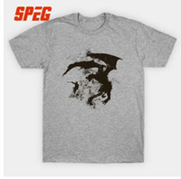 T-shirt Funky Skyrim Dragon Fight Cooltexture BW Drago maschio Tees Cotone manica corta Abiti Personalità Gioventù Men's Formal