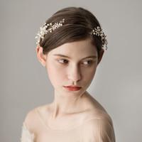 Luxus Gold Strass Blume Kopfstück Hochzeit Haarschmuck Sonderanfang Stirnbänder Braut Tiara Braut Krone Kopfband CPA1429