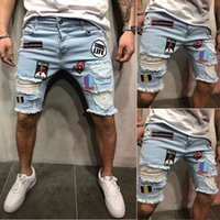 2018 Jeans Shorts Männer Angst vor Gott Cool Street Clothes Mens Jeans Stretchy Zerrissene Skinny Biker Destroyed Taped Denim Shorts