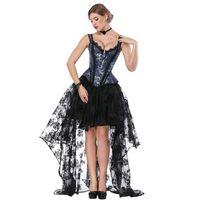 Traje de Steampunk negro azul Mujer Corpetes E Corselet Vestido de corsé sexy Vestidos de ropa gótica victoriana Traje burlesco