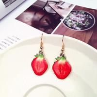 Venta caliente pendientes de acrílico naranja piña tomate piña fruta fresa pendiente lindo regalo para las mujeres Dainty