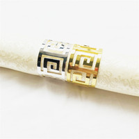 "Glossy Silver Gold Metal Napkin Ring Fancy Laser Cut "" C..."