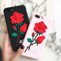3D Pink Red Rose Flower Soft Silicon Rubber Cover Cases For ...