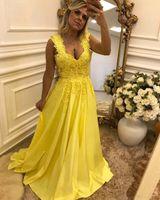 2018 Hohe Qualität Gelb Abendkleid Spitze Appliques Perlen Abendkleid Mit Bogen Abendgesellschaft Formale Kleid Vestido De Festa