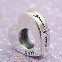 Nuevo 100% S925 Sterling Silver Two Hearts Spacer Charm Bead adapta a European Pandora Jewelry Bracelets and Pendant