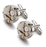 Hommes Business Watch Mouvement Boutons de manchette de Lepton Steampunk Gear Watch Mécanisme Boutons de manchette pour Mens Relojes gemelos