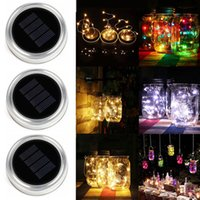 Solar LED Mason Jars Light Up Tapa 10 LED String Fairy Star Lights Atornille las tapas de plata para Mason Glass Jars Luces de Navidad