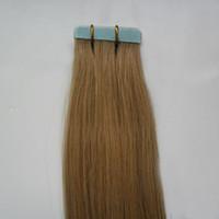 인간의 머리카락 확장 40pcs 27 꿀 금발 100g 10 ~ 26 인치 비 레미 스트레이트 브라질 머리카락 보이지 않는 테이프 PU 피부 위사