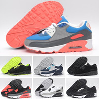 NIKE Air Max 90 New Men woMens Shoes classic 90 Men and women Shoes Negro Rojo Blanco Trainer Air Cushion Surface Shoes 36-46