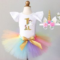 Baby Girls Unicorn Clothing Conjuntos 3 piezas Unicorn Costume con Unicornio diadema Puff Sleeves Cotton Rompers Colorful tutu Faldas