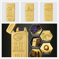 Gold Brick Double Usb Arc Lighter Cigarette Electronic Elect...