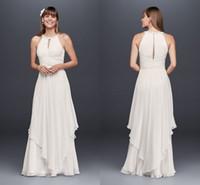 Einfache Brautkleider 2018 Modest Perlen Jewel Neck Elegante Chiffon-Rock Griechische Göttin Brautkleid Billig