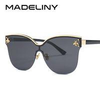 210b04ebd4 MADELINY 2018 Vintage Women Cat Eye Sunglasses Nuevo Marco de Gran Tamaño  Sin Montura Mujer Gafas