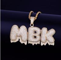 New Custom Name Weiß Drip Blase Buchstaben Anhänger Halskette Männer Zircon Hip Hop Schmuck freie Seil-Kette Gold Silber
