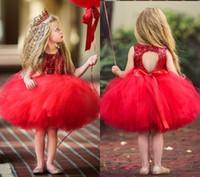 2018 Barato Adorável Vermelho Curto Flor Meninas Vestidos Lace Ruffles Tulle Tutu vestido de Baile Vestido de Meninas Formal Vestidos de Festa de Casamento MC1482