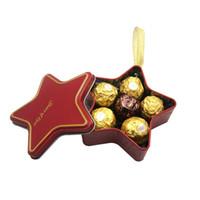 Fournitures de mariage étoiles étoiles à cinq branches de mariage bonbon boîte de rangement en étain boîte de cadeau de cadeau de fer blanc mariée et le marié petit cadeau