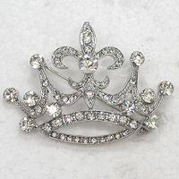 12 sztuk / partia Hurtownie Kryształ Rhinestone Wedding Party Crown Brooches Moda Kostium Pin Broszka Pin Biżuteria Prezent C932