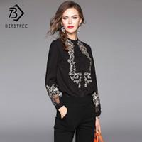 Avrupa Bahar Nakış Kadın Bluzlar 2018 Siyah Dantel Patchwork Elegance Fener Kollu Gömlek Şifon Ofis 2XL T81228L Tops