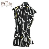 Leechee женщин Шелковый большой размер свитер печатных рукавов рубашки весна и осень высокого класса мода дышащий половина высокий воротник