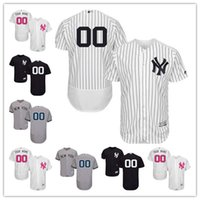 Personalizzato Men's women youth Majestic New York Yankees Jersey nome personalizzato e numero Black Gray White Kids Girls maglie da baseball
