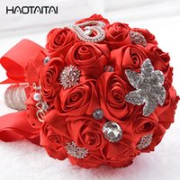 Lovely Red Wedding Bouquet Bridal Bridesmaid Brooch Bouquet Bouquet di fiori rosa Fiori matrimonio Bouquet da sposa