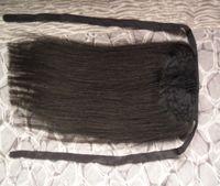 """60g 16 """"40cm machine fabriqué des cheveux Remy envelopper autour de la queue de cheval sur 100% Human Hair Extensions Forcetail Stragiht"""