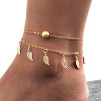Bohemio tobillera playa pierna cadena doble hojas colgante tobillera cadena de pie Bohemio granos hechos a mano tobilleras joyería del pie