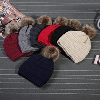 Unisex Trendy Hats Winter Knitted Fur Poms Beanie Label Fedo...