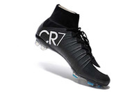 Chaussures de football noires CR7 100% originales Mercurial Superfly V FG chaussures de football C Ronaldo 7 crampons