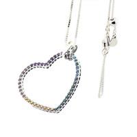 Compatible con la joyería Pandora 925 Collar de plata multicolor del corazón para las mujeres Pendientes de los colgantes de la manera original de la joyería