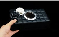 black custom logo Tissue Paper Boxes Leather Pu Facial Napki...