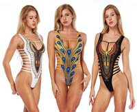 Women Sexy Bikinis Swimsuit One Piece Hollow 3D Printing Dee...
