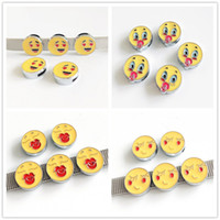 30PCS 8mm Enamel Round Smile Face Slide Charms Beads Fit Pet...