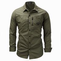 Nuevas camisas de algodón militares de la manga larga del ejército informal para hombre Top 6401