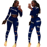 Letter Printed Sexy 2 Piece Set Autumn O Neck Long Sleeve Cr...