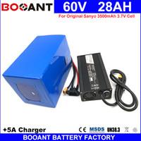 E-велосипед Электрический велосипед батареи Батарея 60V 28AH литиевая батарея для Sanyo 18650 Оригинальный сотовый 1500W + 5A зарядное устройство ЕС США нет налоговой