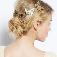 hot sale Fashion Exquisite Metal Hollow out Butterfly shape Hairpins Hair Clips Women Satement Hairwear Accessories Jewelry