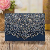 50 PCS/Lot Dark Blue Laser Cut Floral Flower Hollow Wedding Invitations Elegant Marriage Banquet Celebration Greeting Cards