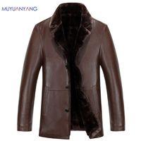 Deri Ceket Erkekler Kış PU Ceketler ve Ceket Rahat Sıcak Kürk Giyim Katı Renk erkek Turn-aşağı Yaka Faux Deri Ceketler