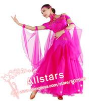 Ücretsiz kargo Yeni S-XXL 10 renk pembe, yeşil, kırmızı, siyah, mavi pembe Modern vals balo dansı kostüm yarışması elbise h-0552
