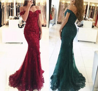 Prom Dresses Red Off The Shoulder Beaded Mermaid Evening Gow...