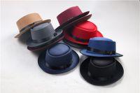 New Fashion Retro Chapeau de jazz en feutre rond plat TOP chapeaux pour hommes femmes élégant plein de feutre Fedora Hat Band large bord plat Jazz Chapeaux Panama Caps