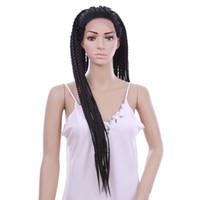 30 polegadas Lace Front Wigs Sintético Preto Cores Caixa Trança Peruca Longo Africano Americano Trançado Perucas para As Mulheres Negras