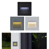 3 W Led Köşe Duvar Işık IP65 Su Geçirmez Açık Alüminyum merdiven ile Gömülü kutu için adım / fuaye duvar köşe ışık bahçe ev
