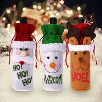 Christmas Wine Bottle Decor Cover Set Santa Claus Snowman De...
